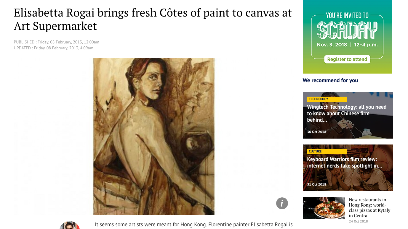 ">> 8 Feb 2013: Wine-made paintings by Elisabetta Rogai at Art Supermarket in ""South China Morning Post"" Online"