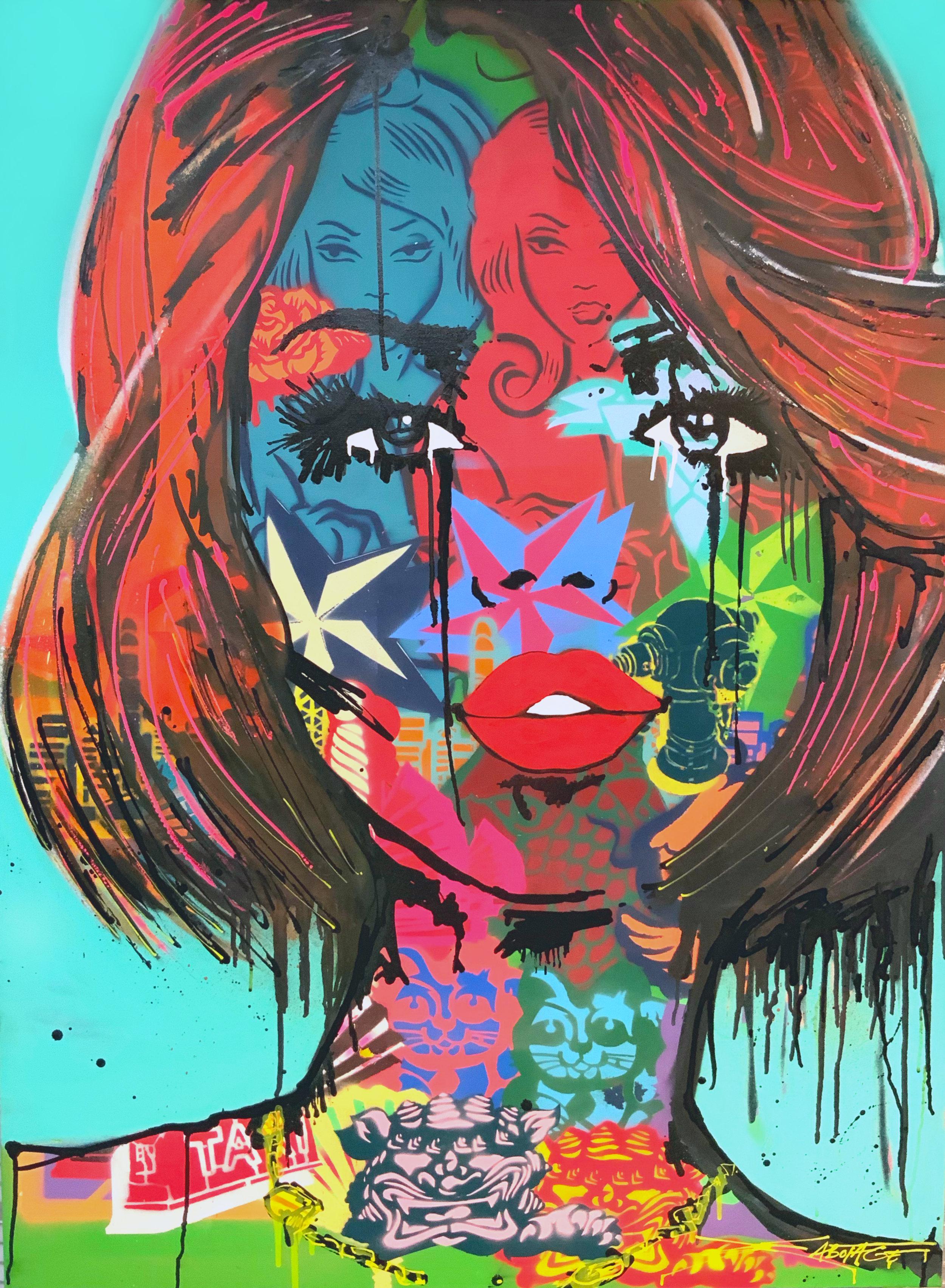 """Hong Kong Highs"" Spray Paint, Stencil, Graffiti Marker and Ink 122 x 92 cm 2019"