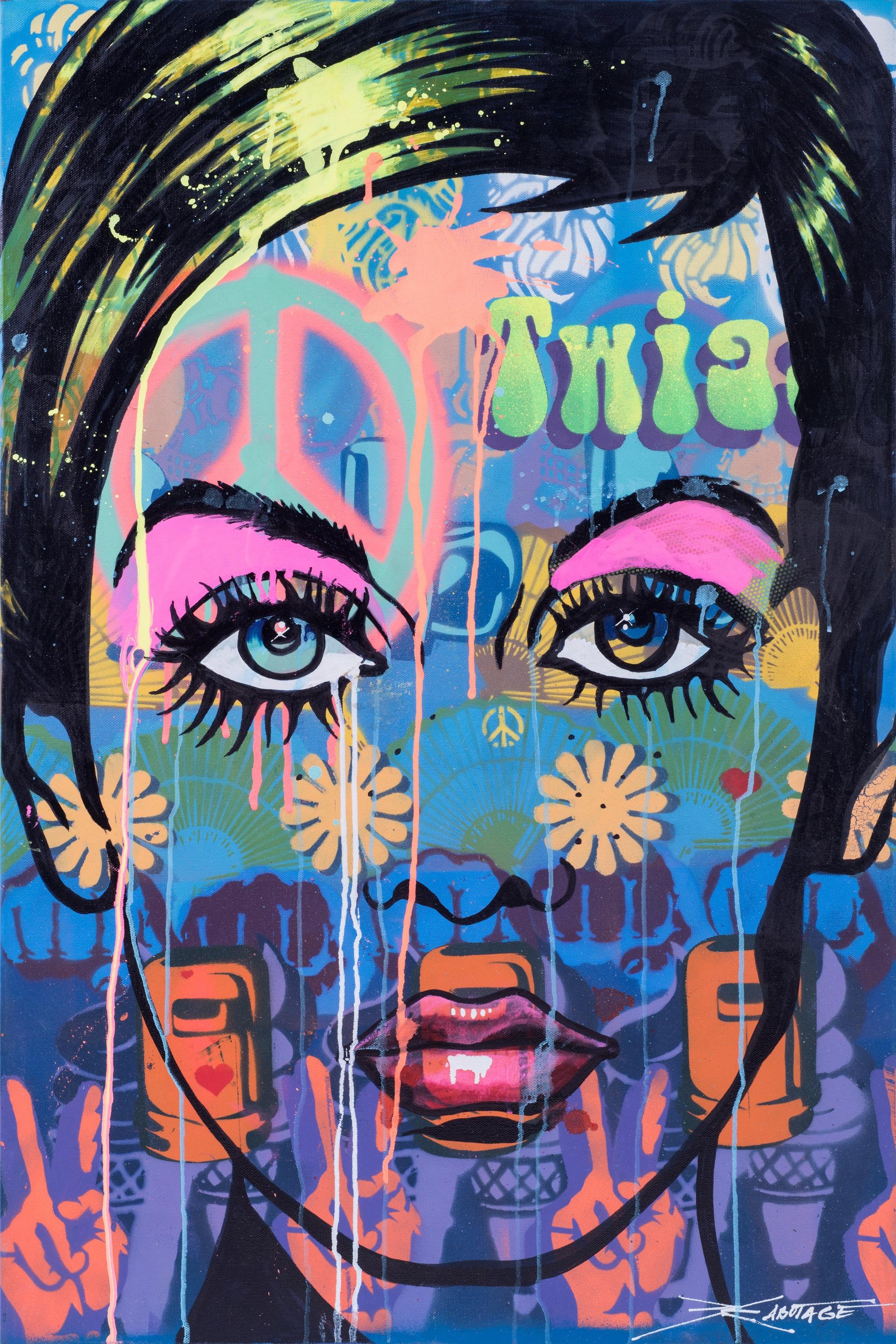 """Twiggy"" Spray Paint, Stencil and Graffiti Marker 61 x 91 x 4 cm 2017"