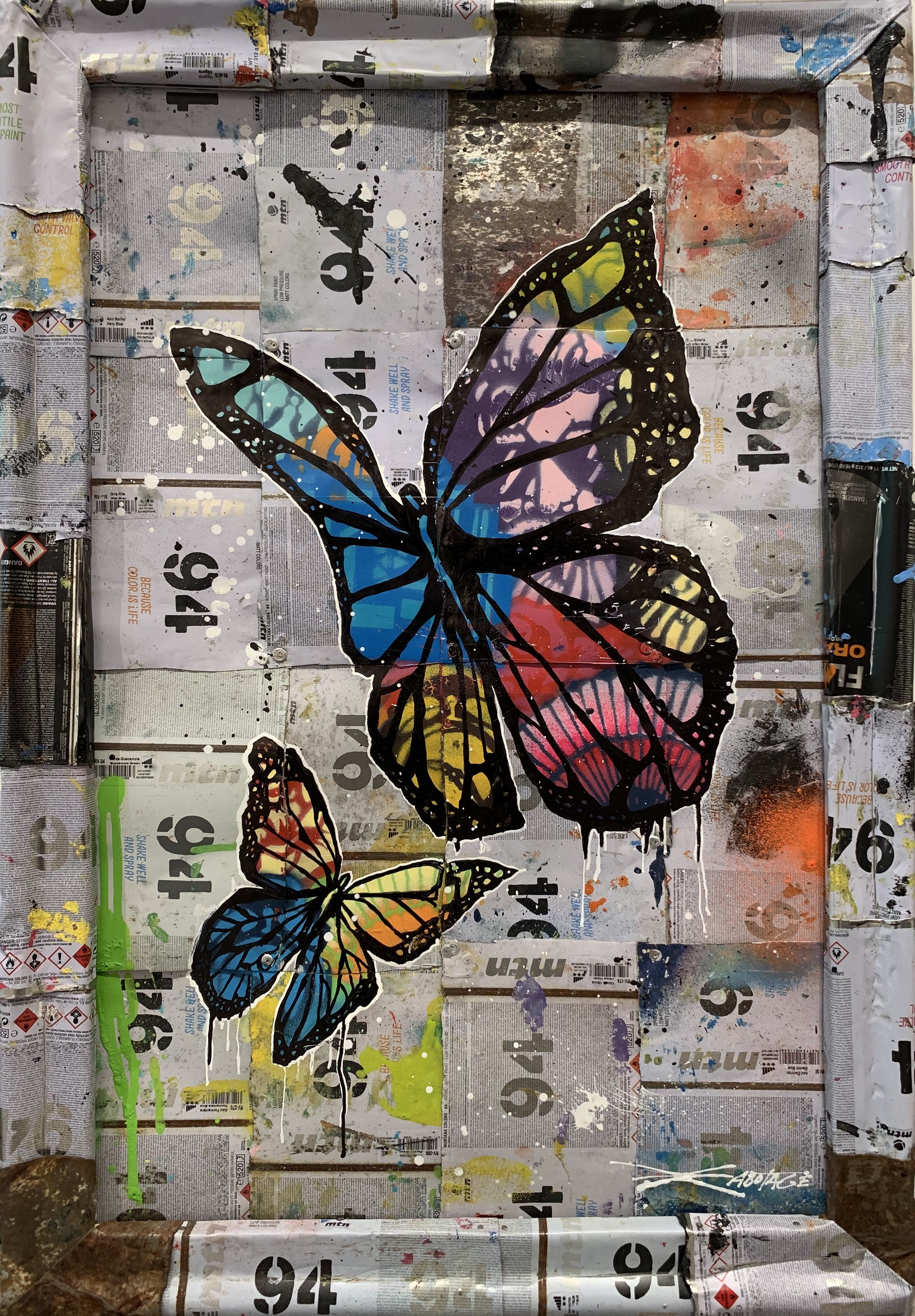 """Butterflies"" Stencil Mixed Media Spray Paint and Graffiti Markers on deconstructed Can Background 78 x 54 cm 2018"