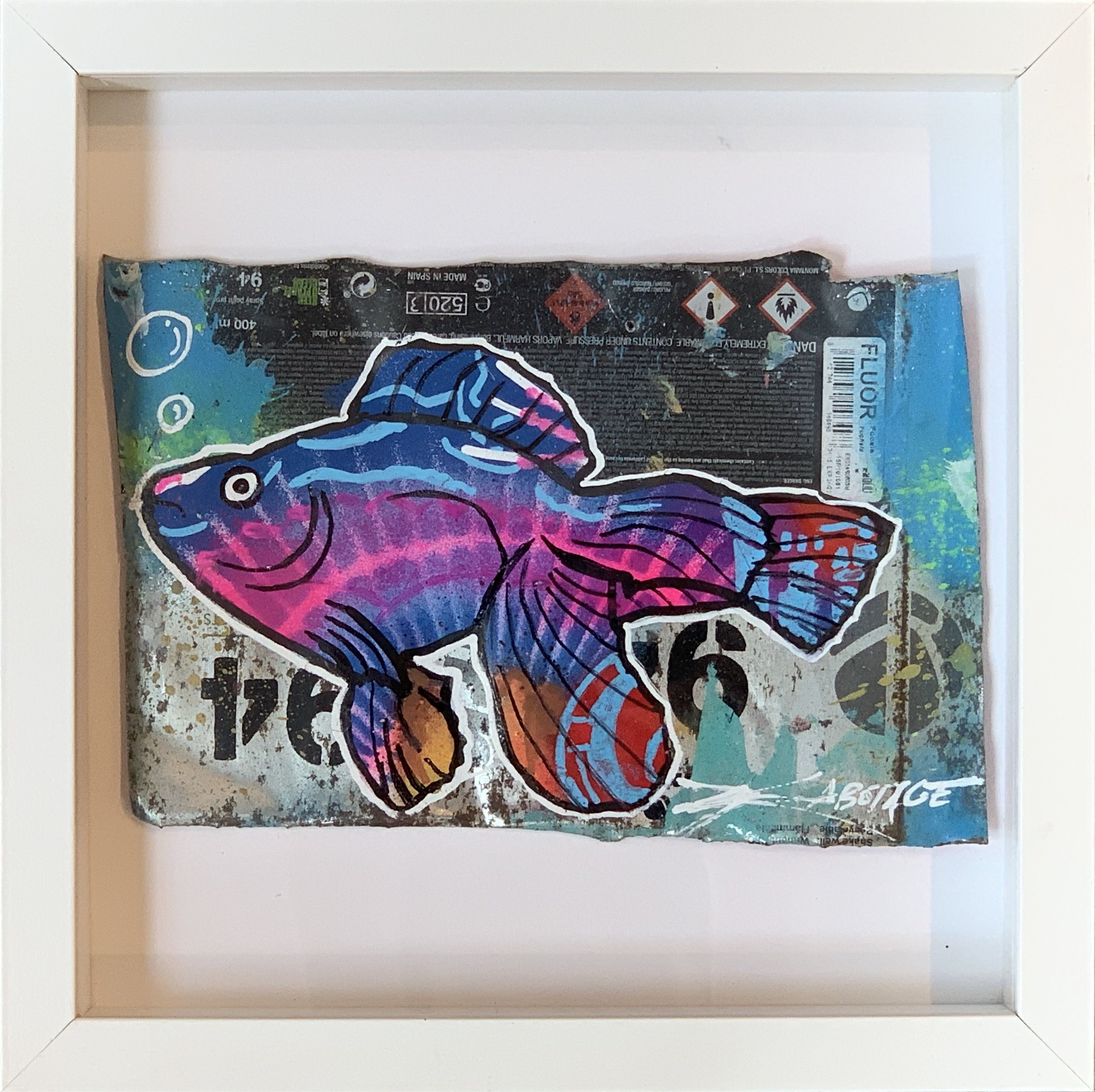 """Mini Can Can Flour Fish"" Stencil Mixed Media Spray Paint and Graffiti Markers on deconstructed Can Background White Framed 26 x 26 cm 2018"