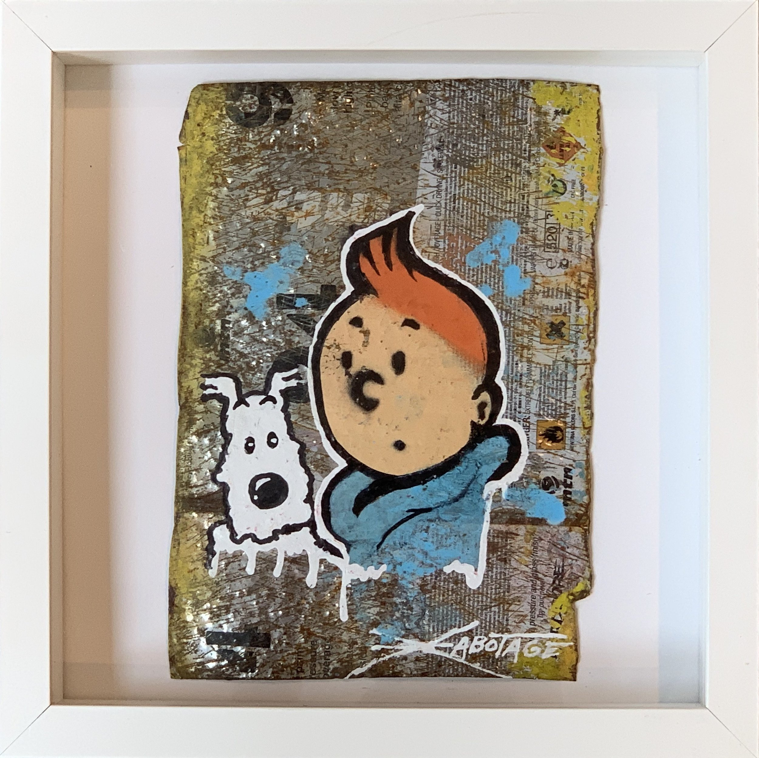 """Mini Can Can Tin Tin and Snowy"" Stencil Mixed Media Spray Paint and Graffiti Markers on deconstructed Can Background Framed 26 x 26 cm 2018"
