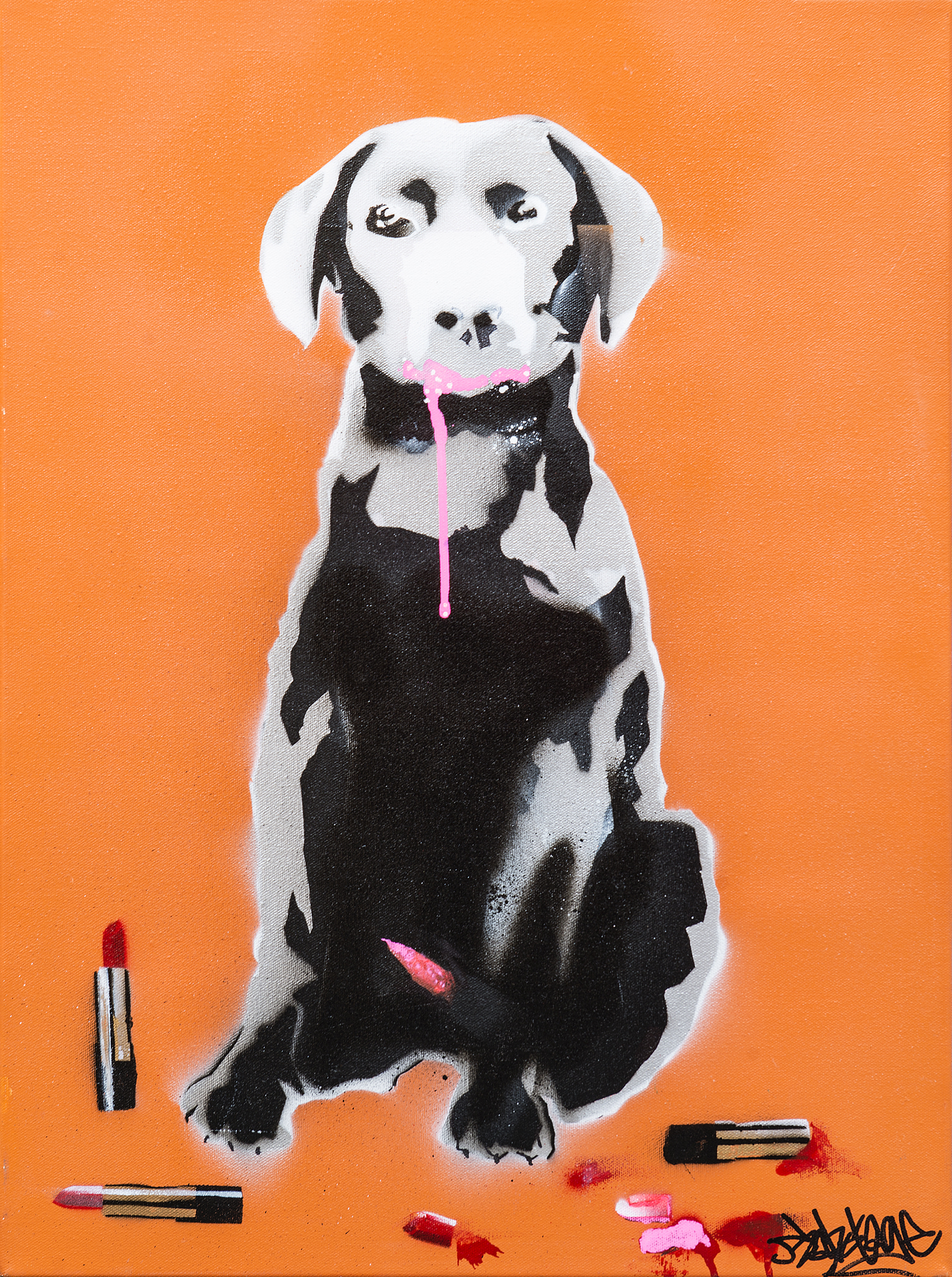 """Puppy Love"" Spray Paint, Stencil and Graffiti Marker 45 x 61 cm 2014"