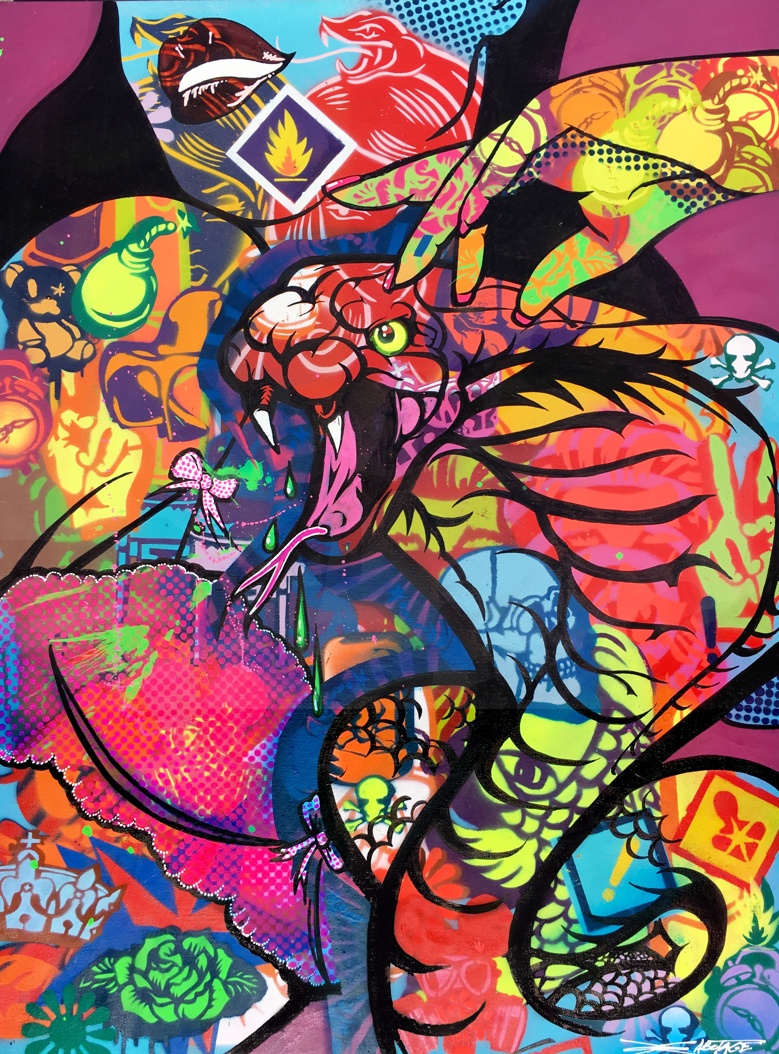 """Venomous Love Hiss Hiss"" Spray paint stencil and graffiti markers 61 x 90 cm 2018"