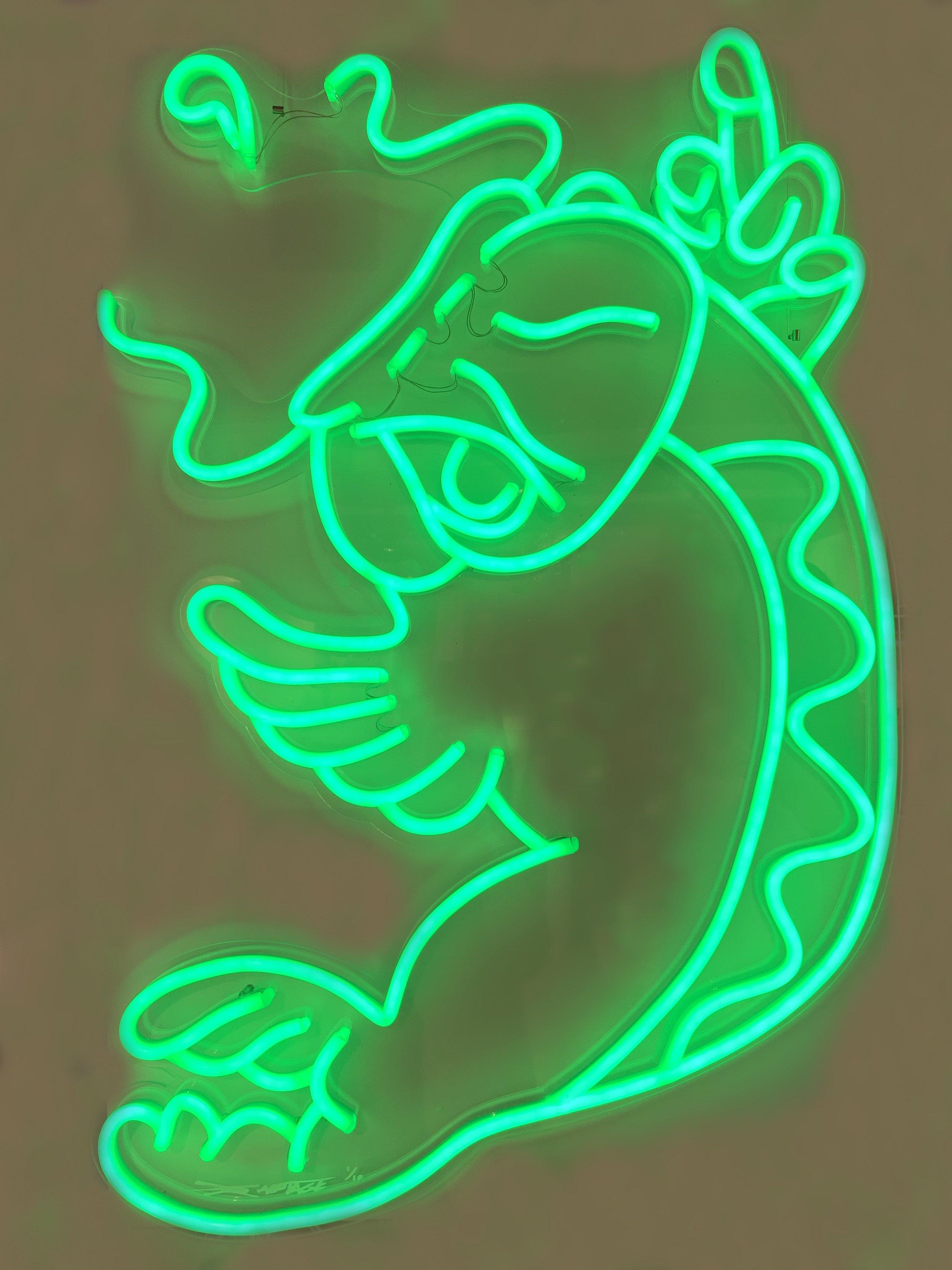 """Shiny Koi - Green"" 10 Limited Edition LED Light 90 x 66 cm 2018"
