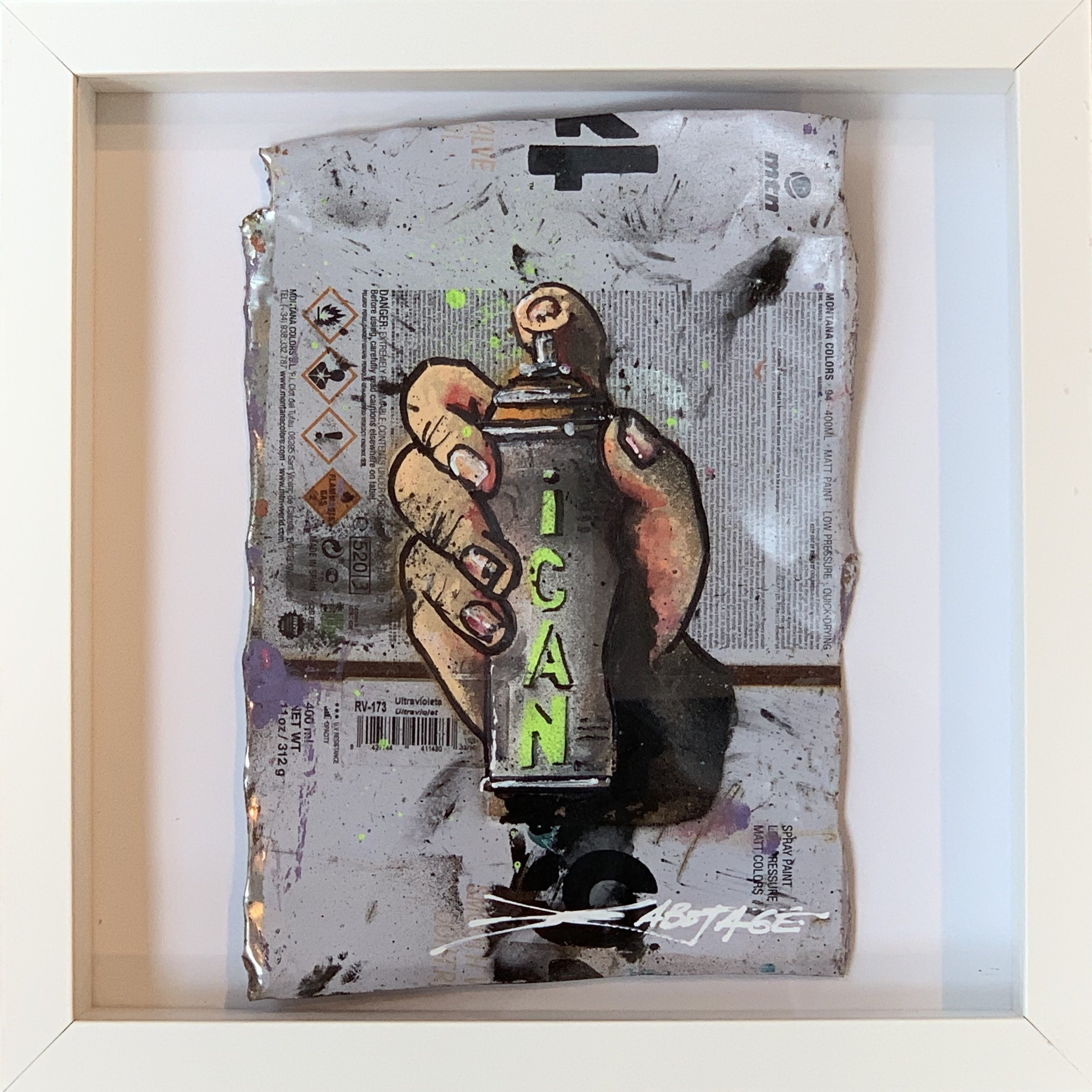 """Mini Can Can I CAN"" Stencil Mixed Media Spray Paint and Graffiti Markers on deconstructed Can Background Framed 26 x 26 cm 2018"