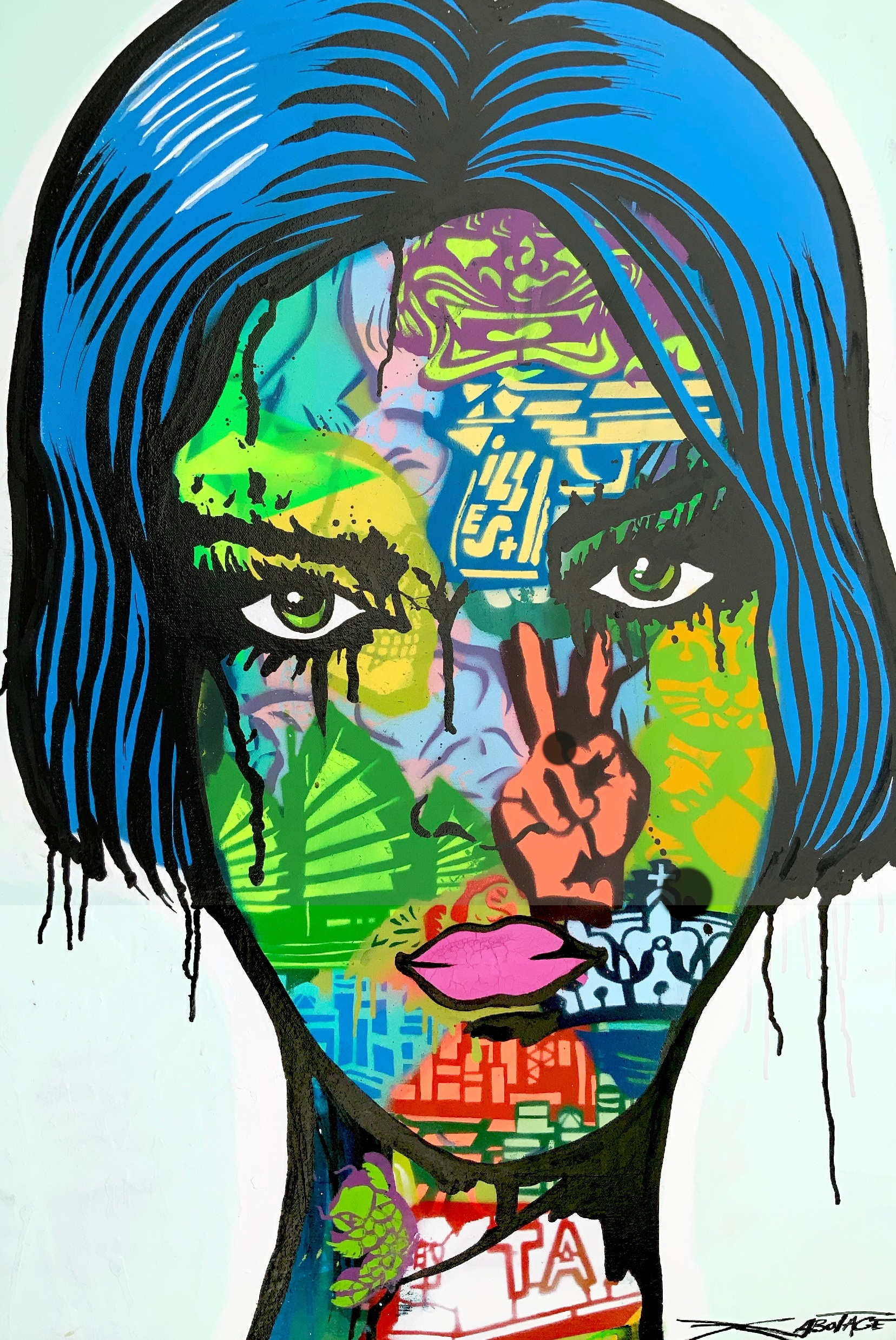 """Green eyes"" Spray Paint, Stencil, Graffiti Marker and Ink 61 x 91 cm 2019"