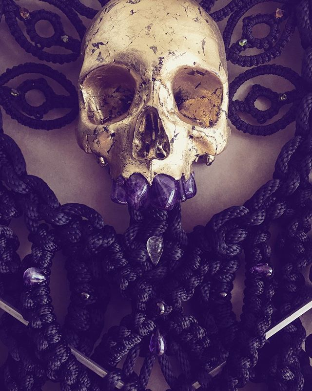 the divinity of ones self does not need to be cast in gold to be noted / know thyself / see thyself /// detail of a commission i have birthed a while back / one of the largest roped skull pieces to date