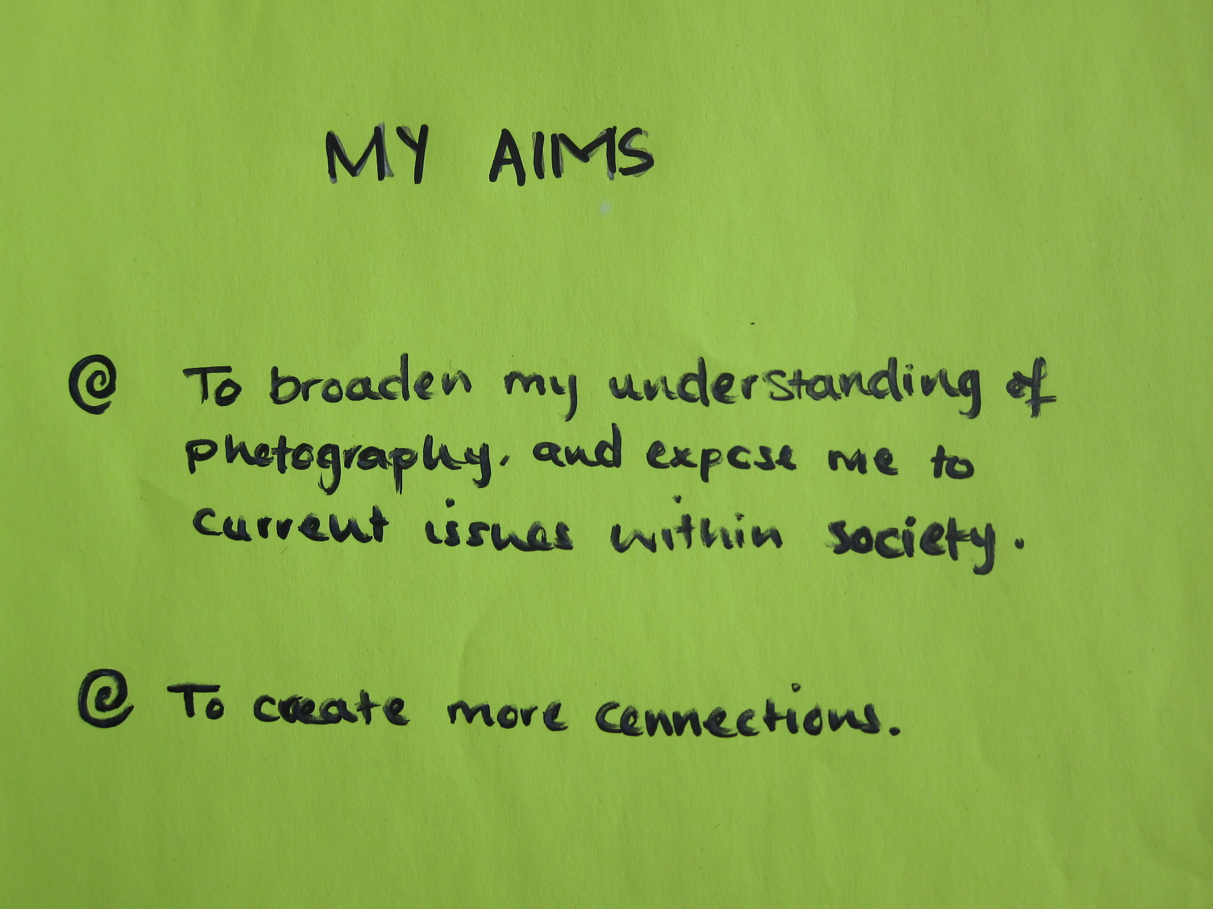 Day 2 - one young person's aims