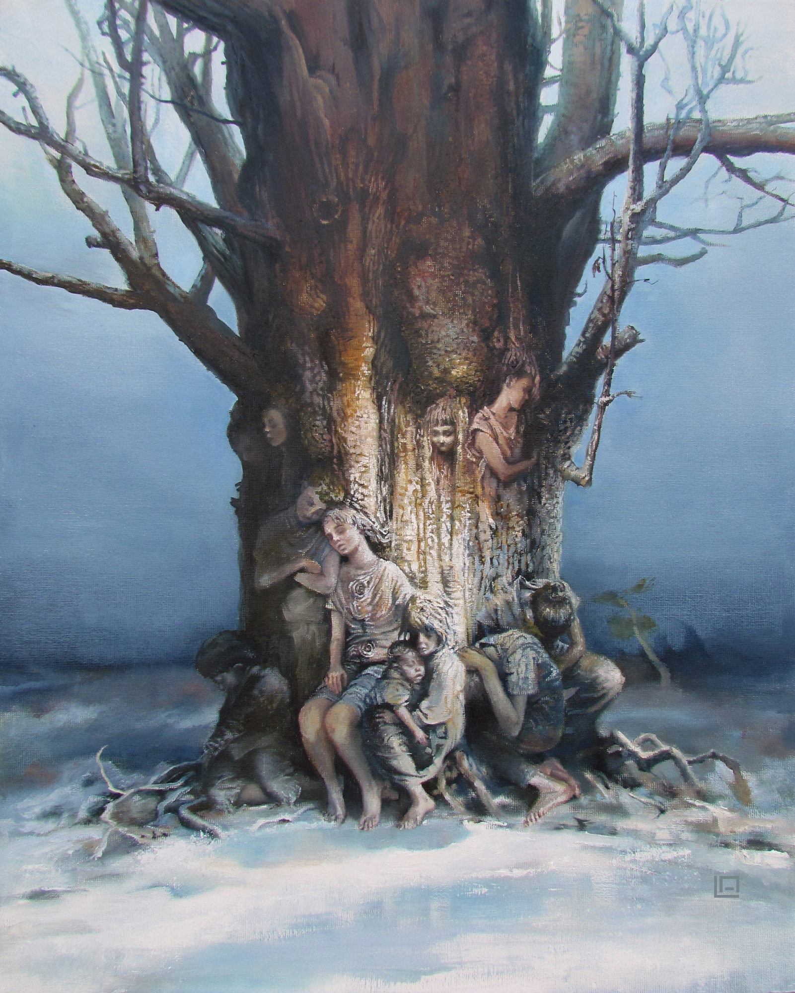 "The Tree of Splintered Dreams, 16""20"", oil on canvas. Available"