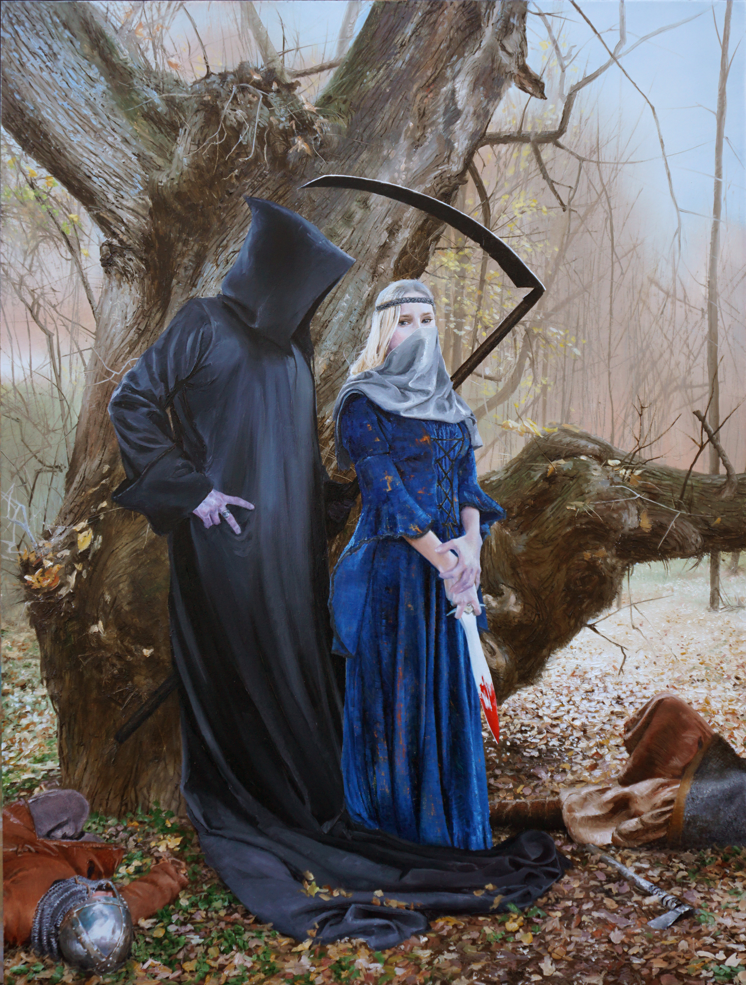 "Courting Death, 18""24"", oil on panel. Available"