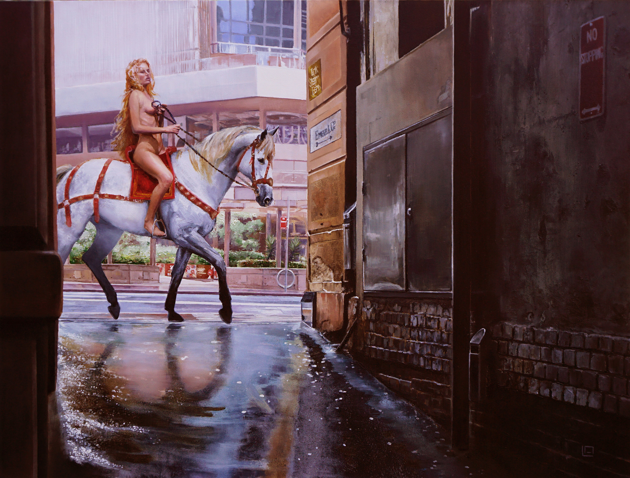 "The Lady Rides Through, 24""x18"", oil on panel. Available"