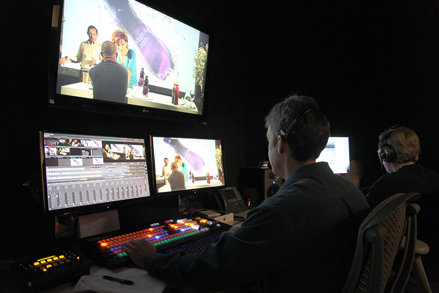 Our crew at work in the control room during a televised program.