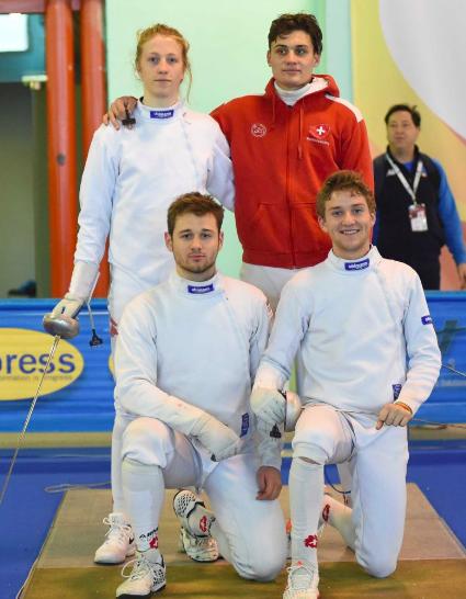 Team SUI der Herren im U20 in Foggia, mit Hadrien Favre (kniend rechts) und Jonathan Fuhrimann (stehend links) sowie Ian Hauri (stehend rechts) und Gabriel Bonferroni (kniend links).