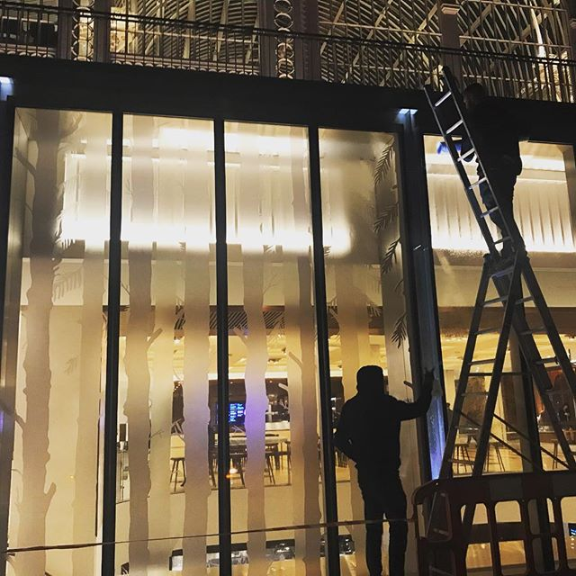 Applying #window #vinyls at the royal opera house for latest project here with #skellonstudio The Displayways team were ace. #royaloperahouse #hanselandgretel