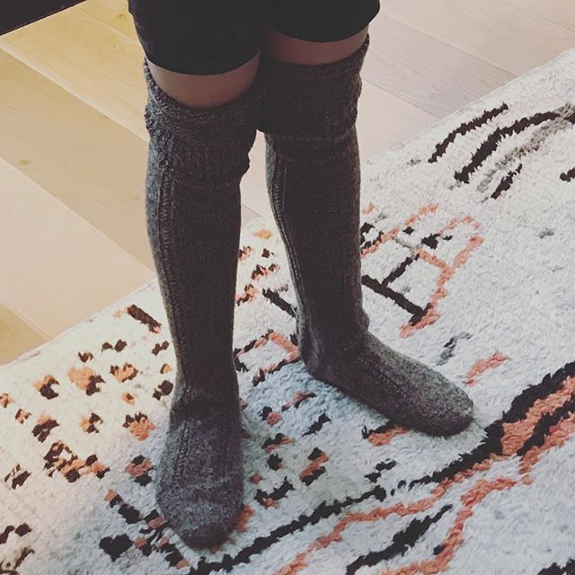 Trying on the Christmas stockings. Grandfather's #walking socks from c1950. #larusirugs #woollysocks