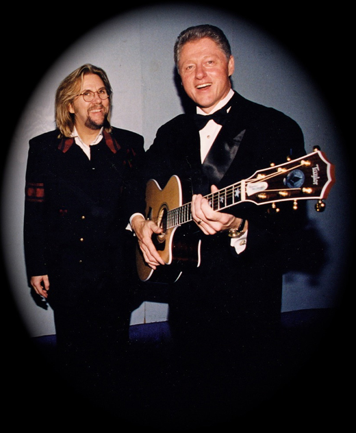 DP presents Pres. Clinton w/ custom Presidential Taylor guitar in celebration of music directing both the  '93 and '97 Arkansas Ball Inaugural events