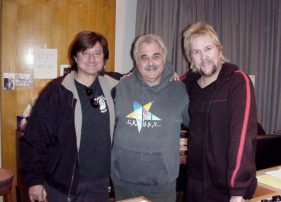 With Steve Perry and the legendary mastering engineer Doug Sax at Mastering Lab, 2004