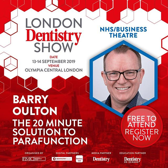 Don't miss Dr Barry Oulton - The 20-Minute Solution to Parafunction at @FMCpro #LondonDentistryShow in a few weeks time! Make sure you come along and visit our Stand M3 to view our product range, speak to our lead technician and find out how we can help you! We also have special offers including 50% off your next appliance and a FREE @Smilelign treatment plan!