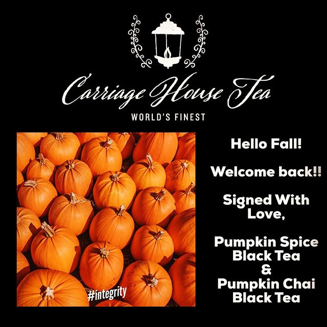 Preparing for a spectacular fall season!! Autumn weather just brings out the pumpkin in us!  Stop in soon to stock up on our Pumpkin Spice Black Tea and our Pumpkin Chai Black Tea… You'll be glad you did! #fall #autumn #tea #teabar #cupoftea #tinoftea #pumpkinspice #pumpkinchai #blacktea #integrity #worldsfinest #carriagehousetea #asheboro #nc
