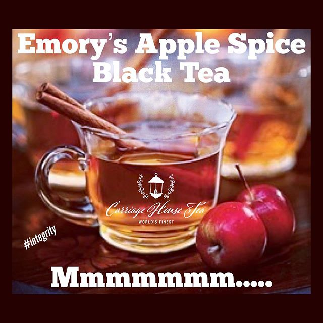 Give me a cool autumn day, a cozy soft blanket and a cup of Emory's Apple Spice Black Tea = heaven on earth!  Oh yeahhhhhh!!!!!!! #tea #cupoftea #tinoftea #teabar #teacafe #drinkmoretea #integrity #worldsfinest #carriagehousetea #asheboro #nc