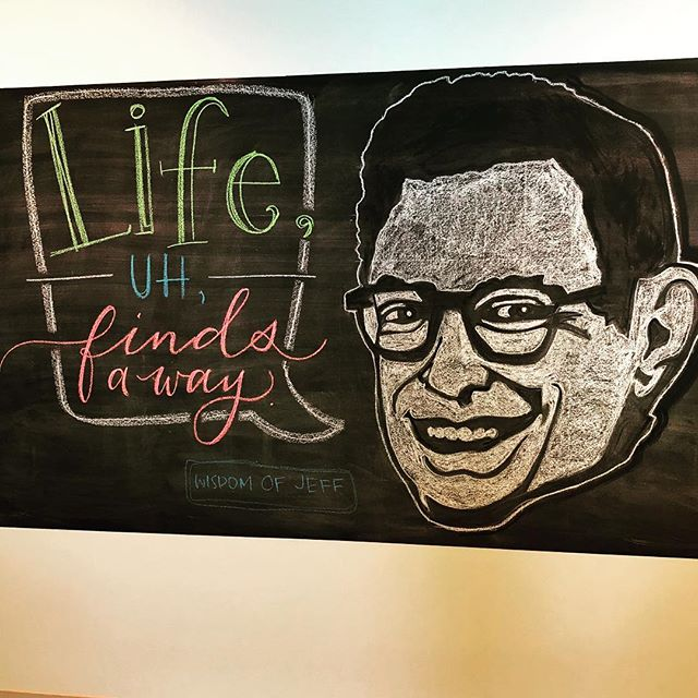 Another day, another quote. I'm just so happy that I get to work at a place with a big chalkboard and carte blanche to go nutzzz! Thanks @customink! @fairfax_inkers
