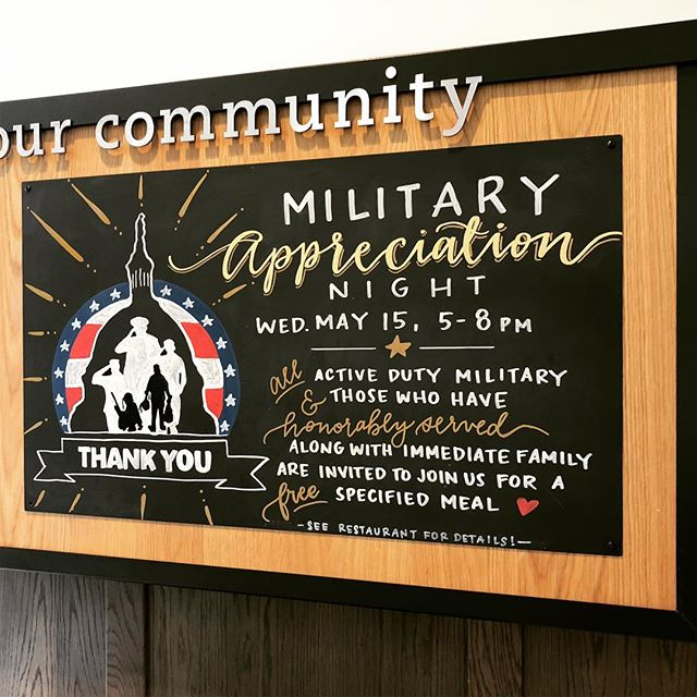 Back at Chick Fil A for their Military App'n Night promo. OF course an Air Force brat like me gets teary doing a chalkboard like this 😛 Shouts to all my military family 😘😘😘 Thank you! Now go get some (free) chicken!