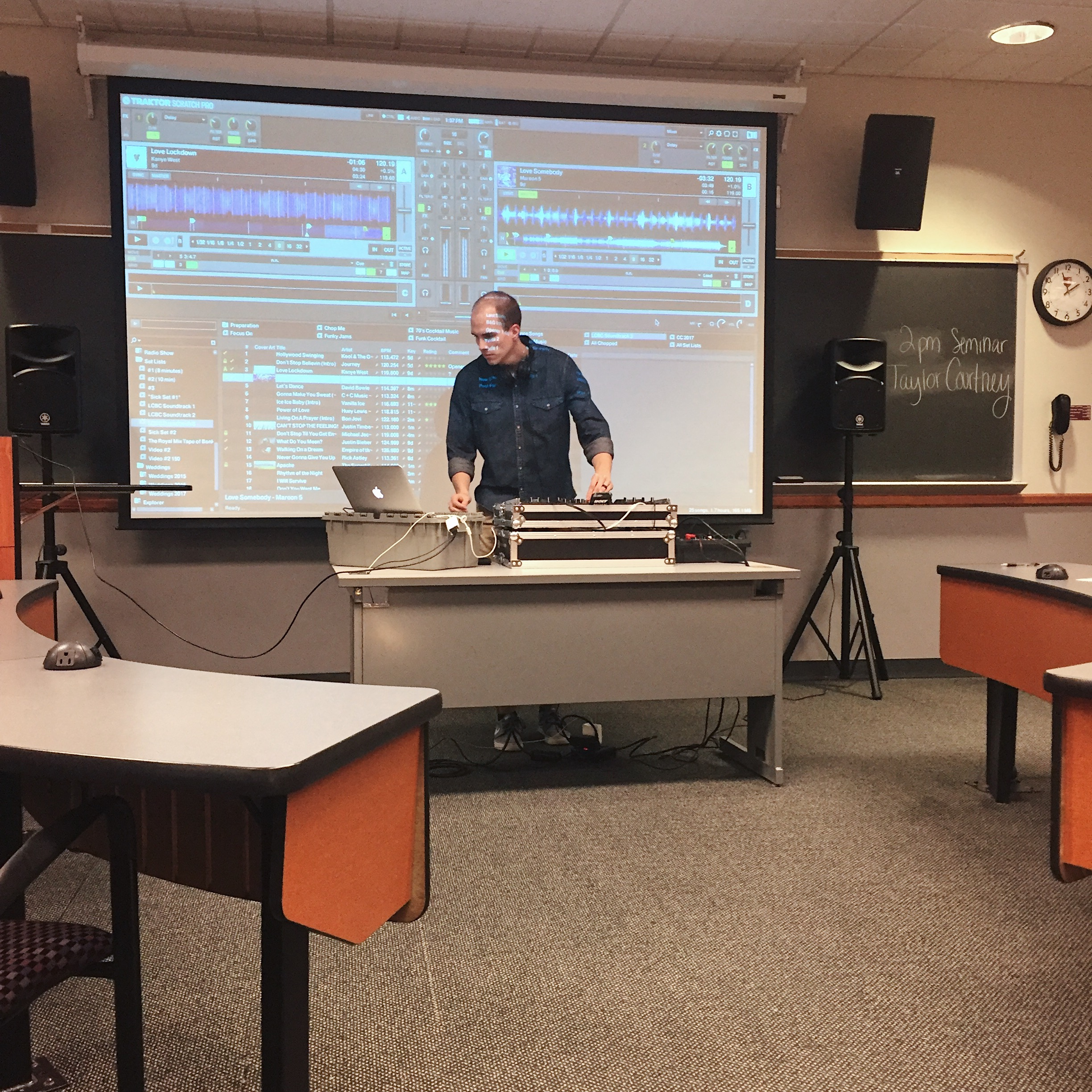 Two weekends ago I had the fun opportunity to talk about DJ'ing to a group of college students at  @grovectycollege . Before speaking I became nervous. I wasn't nervous to give the presentation, I was afraid no one would show up and that several hours of driving would have been spent on no one. Luckily over twenty students attended and I had an absolute blast!