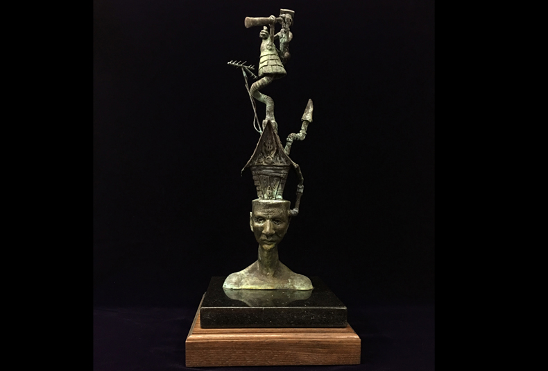 """My Own Mind Is My Own Church  Limited edition bronze sculpture.  21 X 9.5 X9.5"""""""