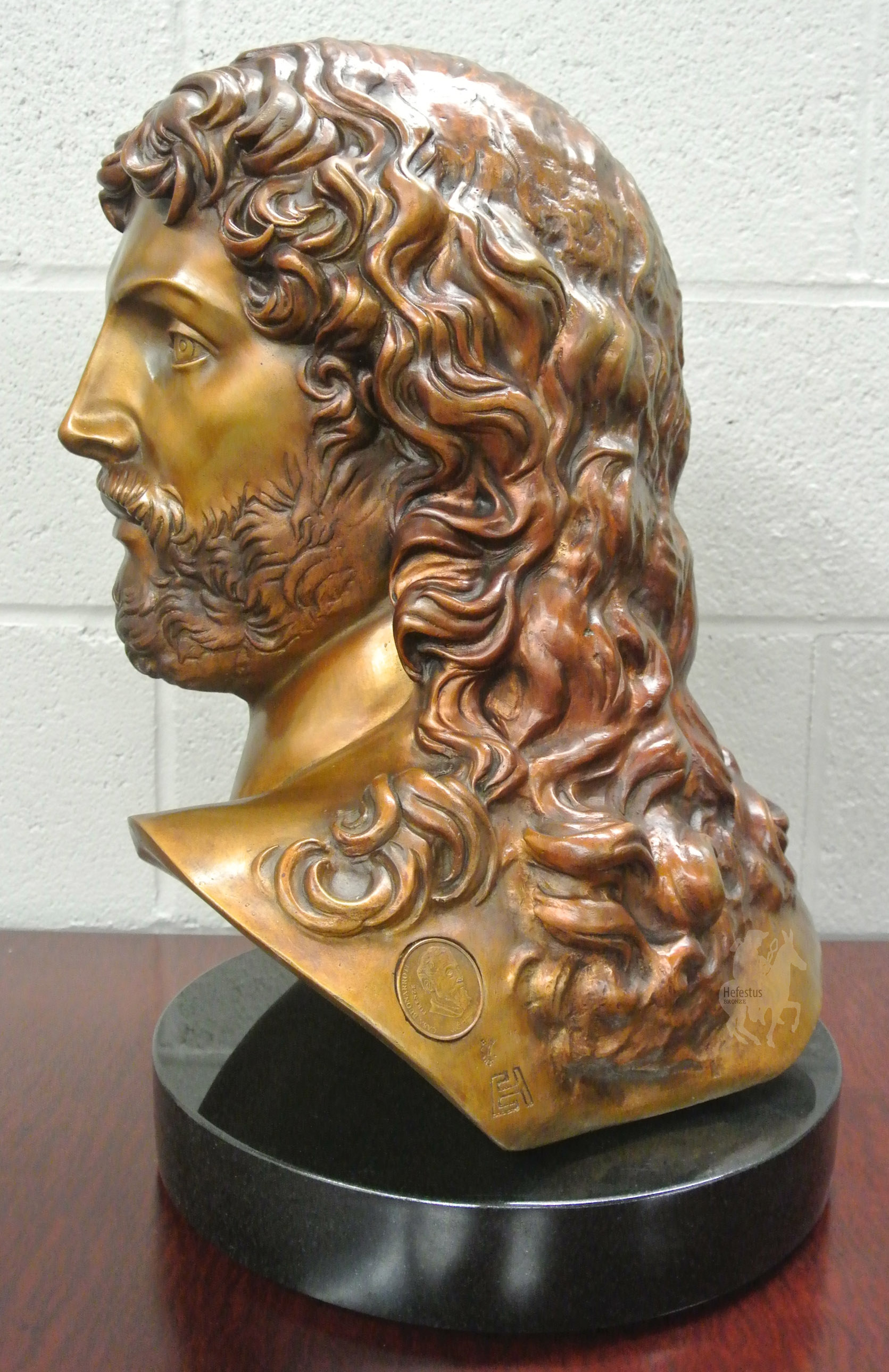 Michelangelo's Resurrected Christ Bust in Bronze -3