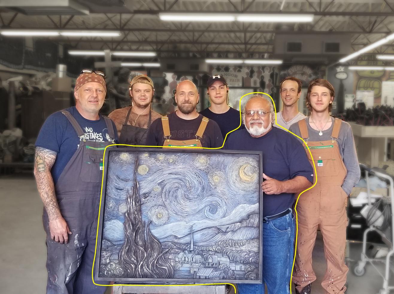 Tomas Bustos & Starry Night Bronze Relief