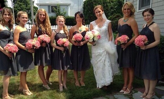 Beautiful wedding party at the bride's home