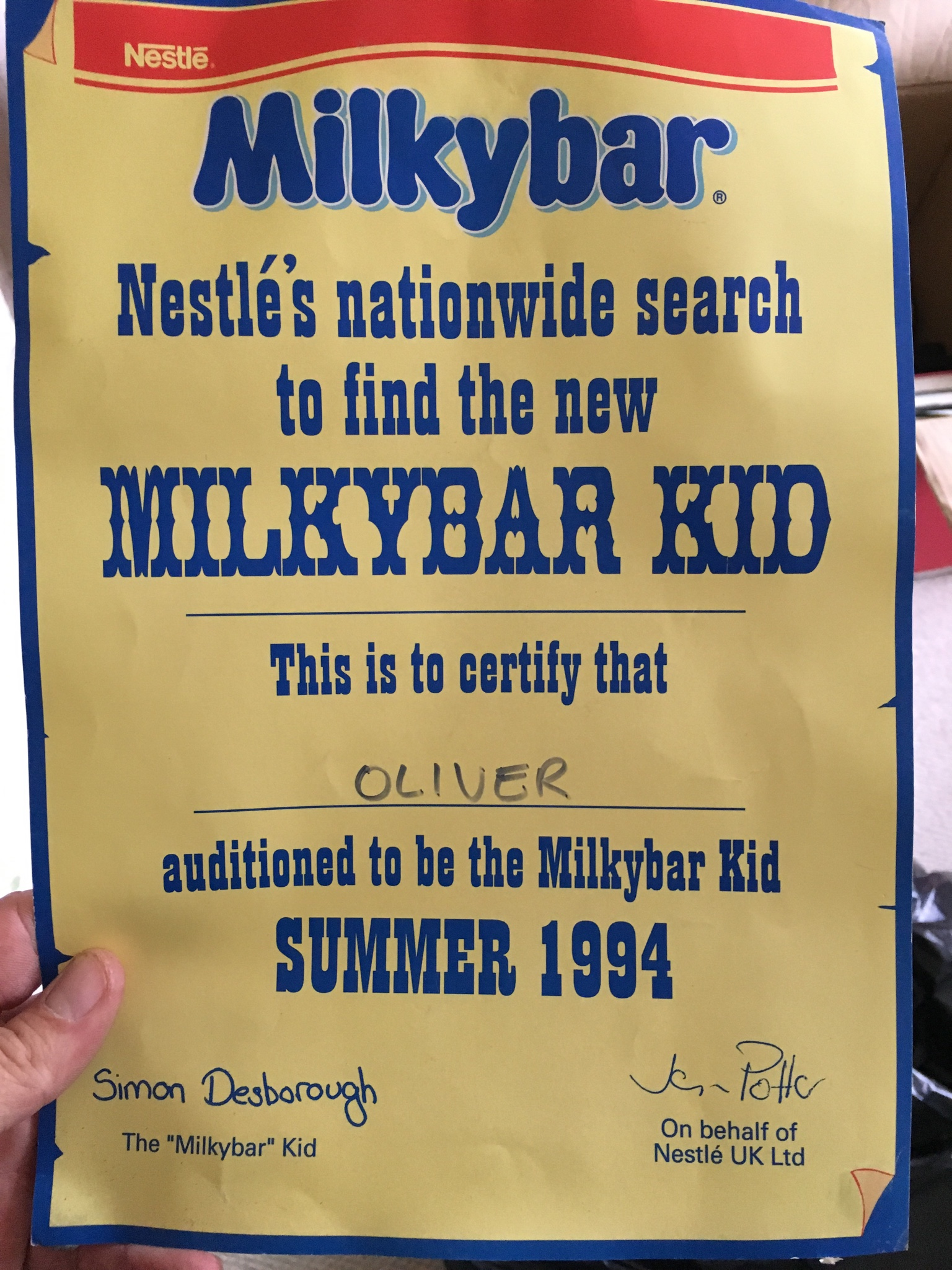Ollie Peart's audition certificate to be the Milkybar Kid