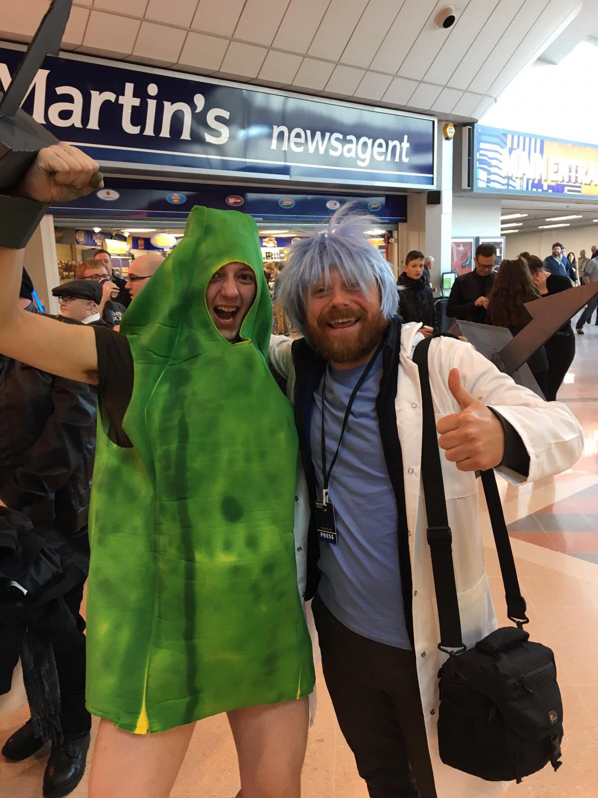 Ollie Peart as Rick. With a Pickle Rick.