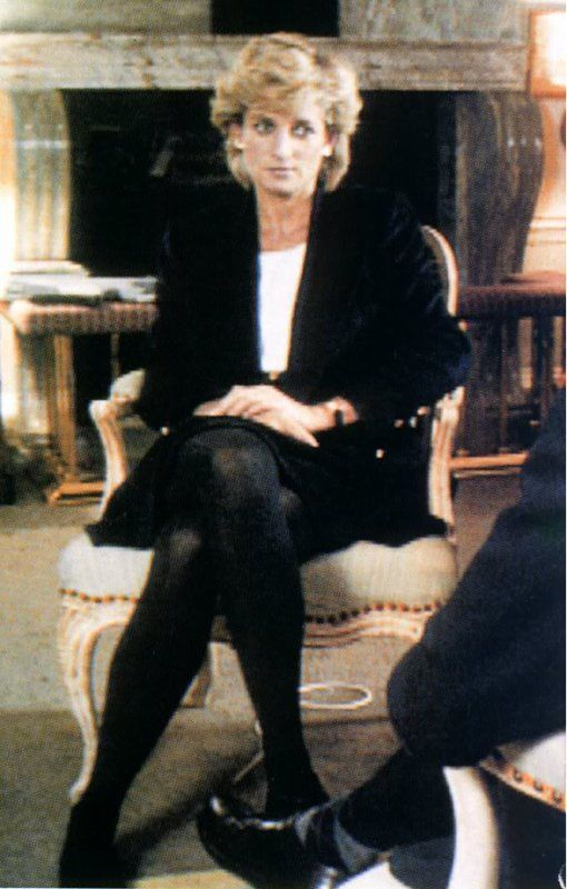 Princess Diana wearing one of Andrew's suits in her famous Panorama interview, 1995