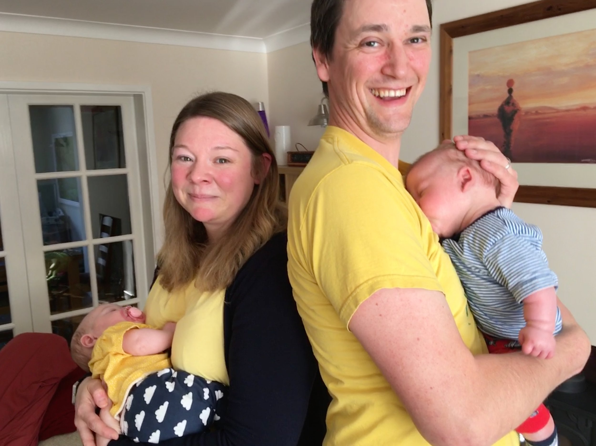 Jo and Steve Peck with twins Harriet and Barney, May 2018