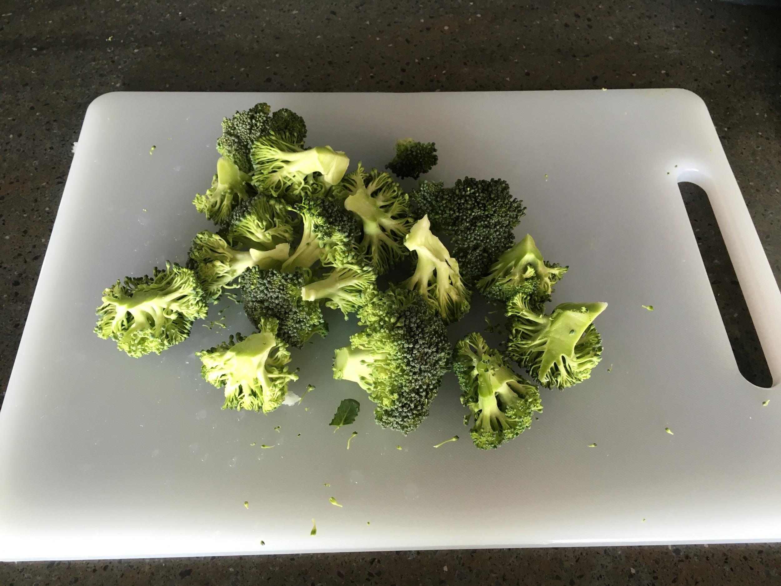 Step 2: Chop broccoli into florets