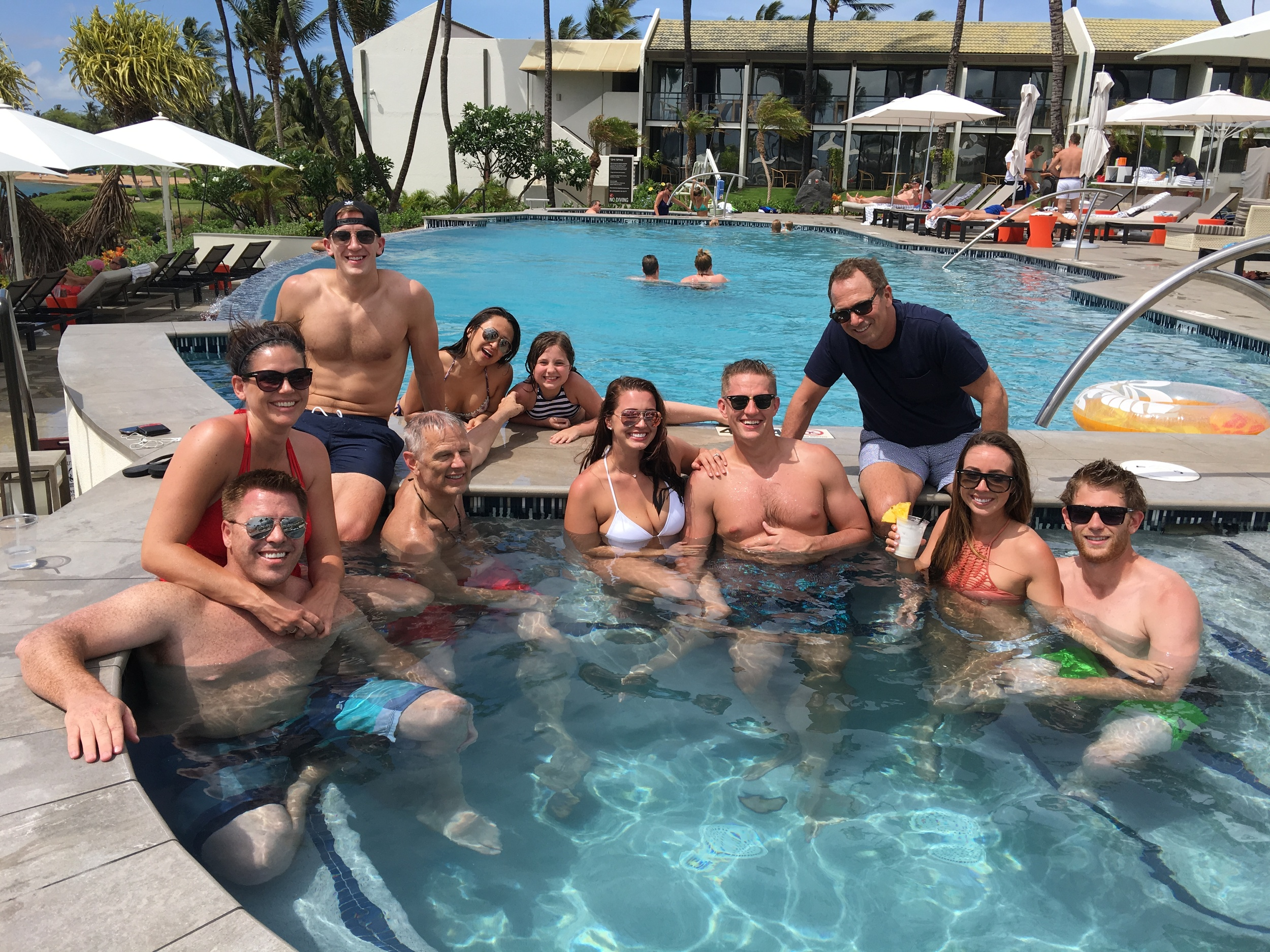 Marriott pool with some of our guests