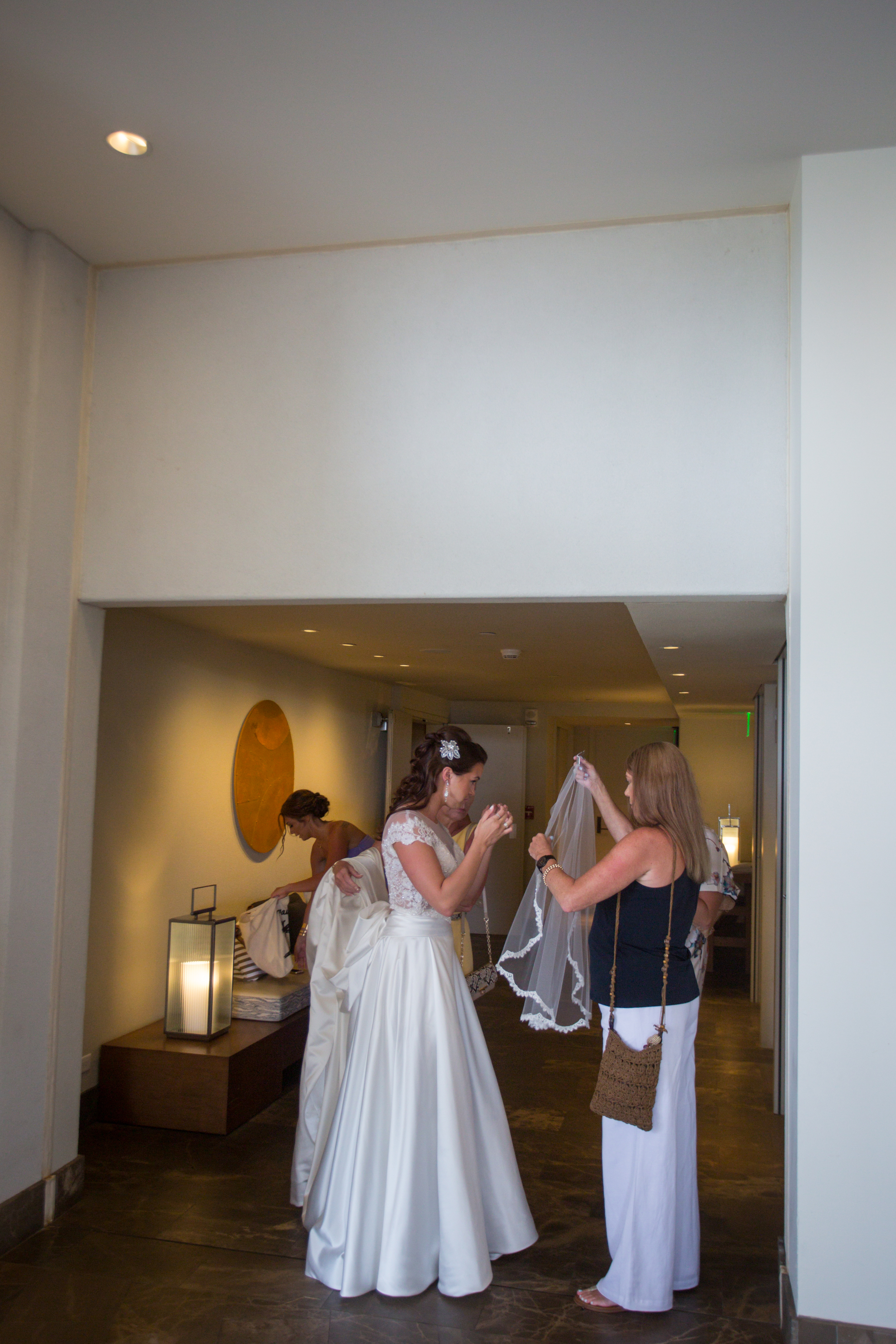 My lovely Aunt helping me with my veil