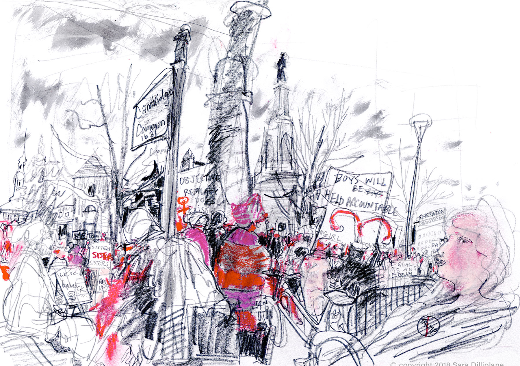 Women's March, 2018, Cambridge Common