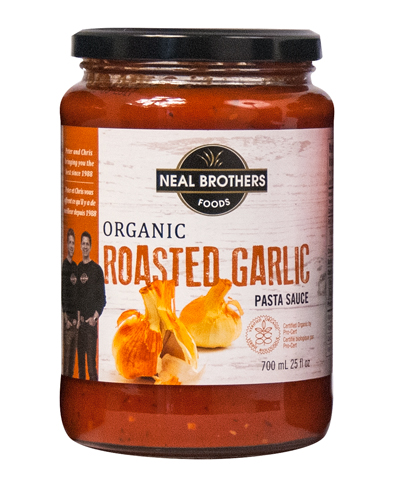 Neal Brothers Organic Roasted Garlic Pasta Sauce Packaging Design