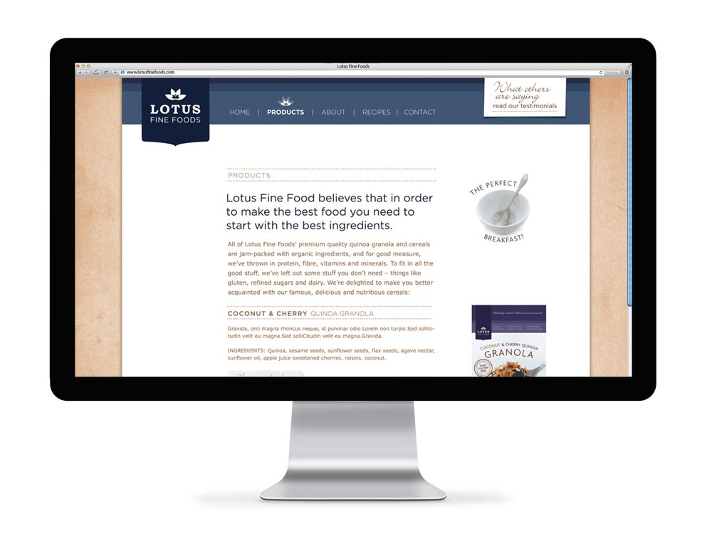 Lotus Fine Foods Web Design