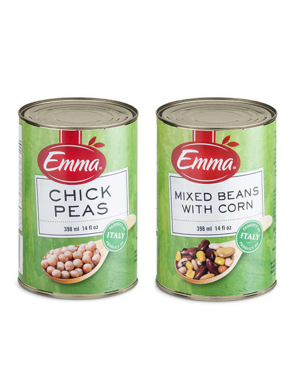 Emma Chickpeas and Emma Mixed Beans with Corn