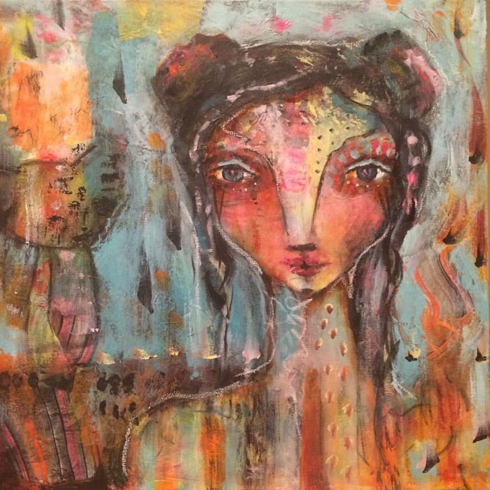 """Fire Girl 20"""" 20"""" canvas (sold)"""