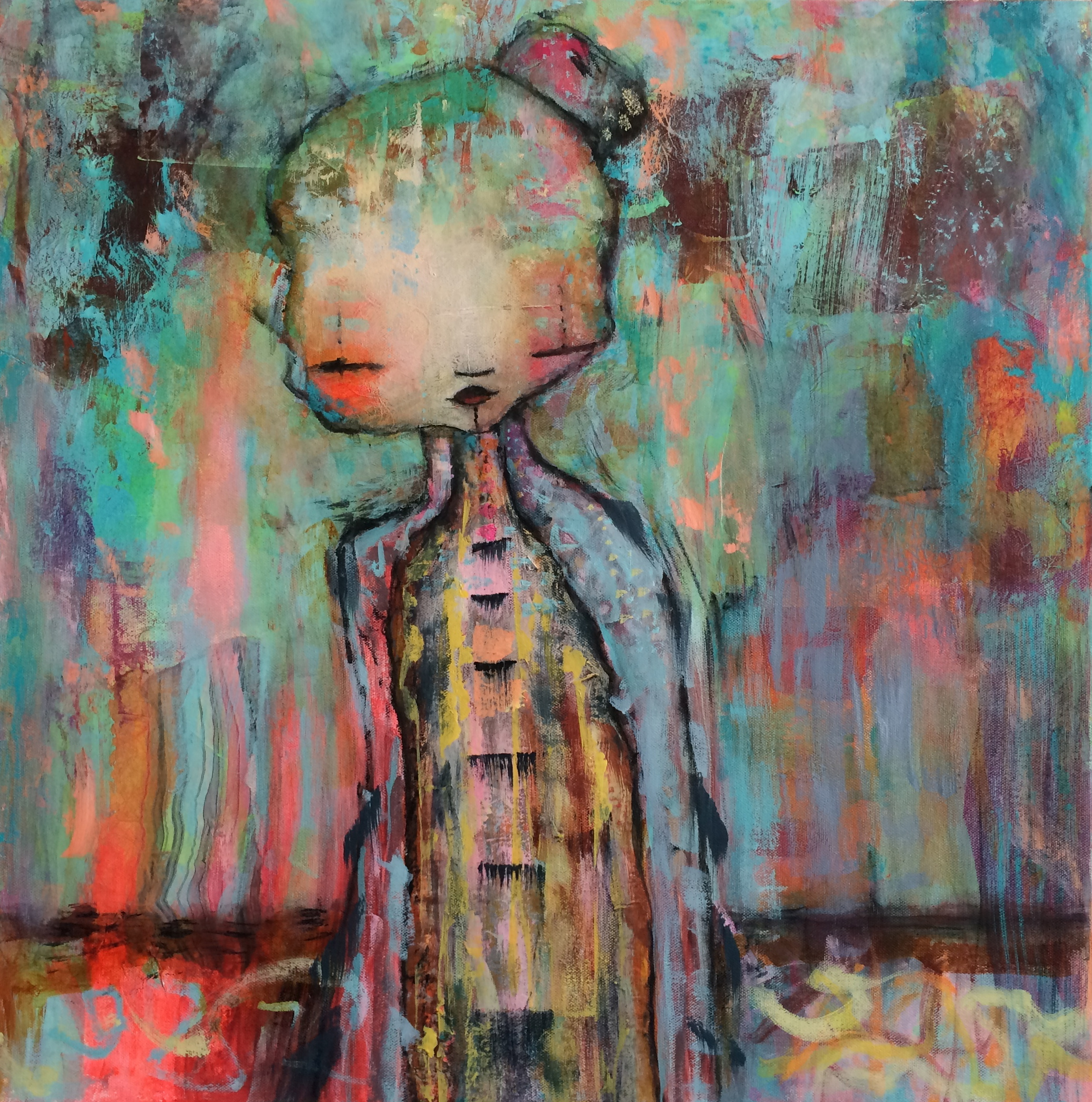 """Japanese Girl 24""""x24"""" Canvas (sold)"""