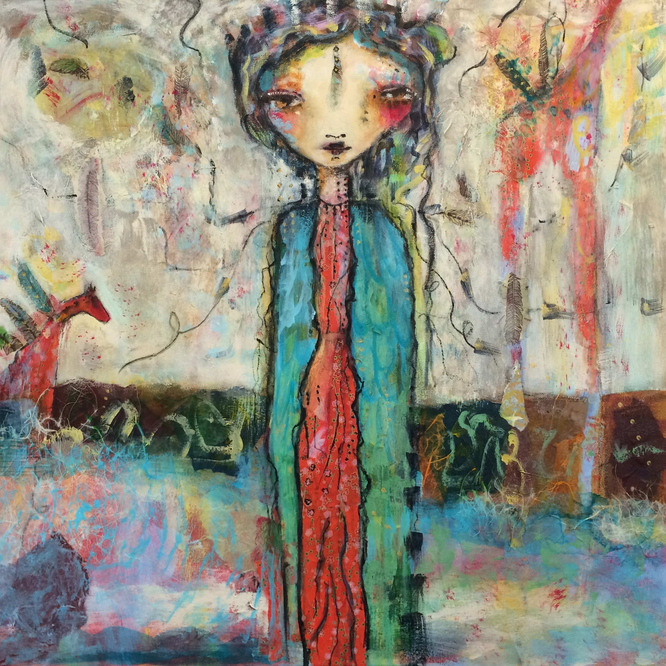 """One With the Animals 24""""x24"""" Canvas (sold)"""