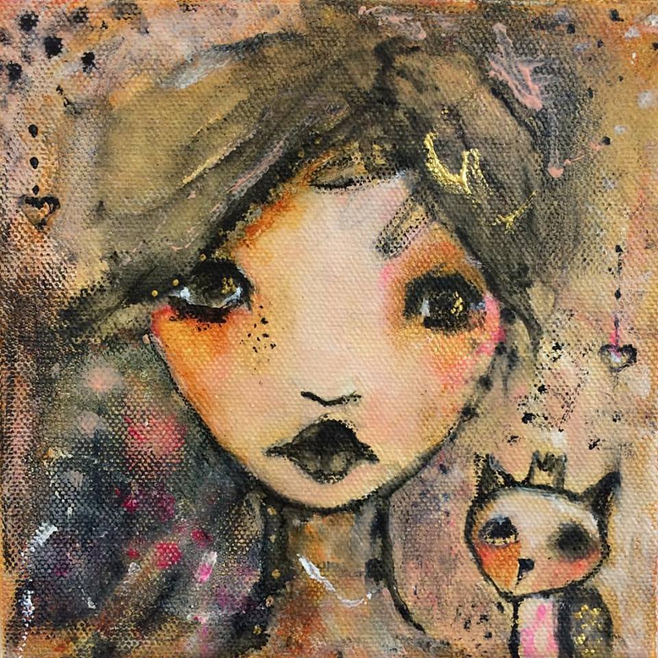 "Cat Love 6""x 6"" canvas"