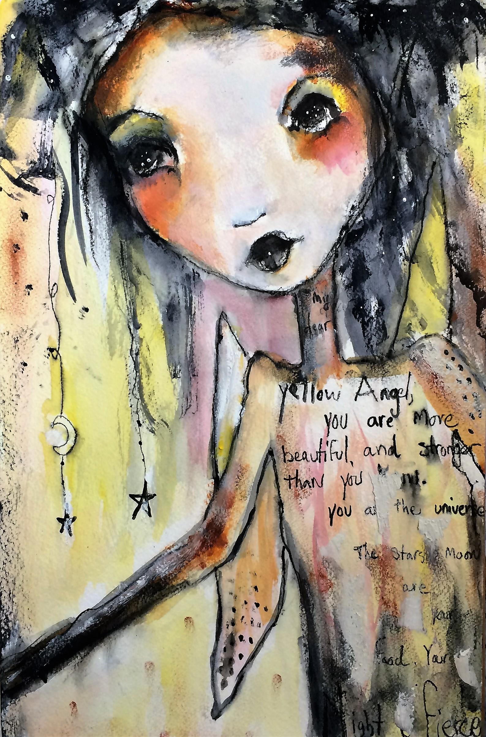 "My Dear Yellow Angel 11""x 18"" (sold)"