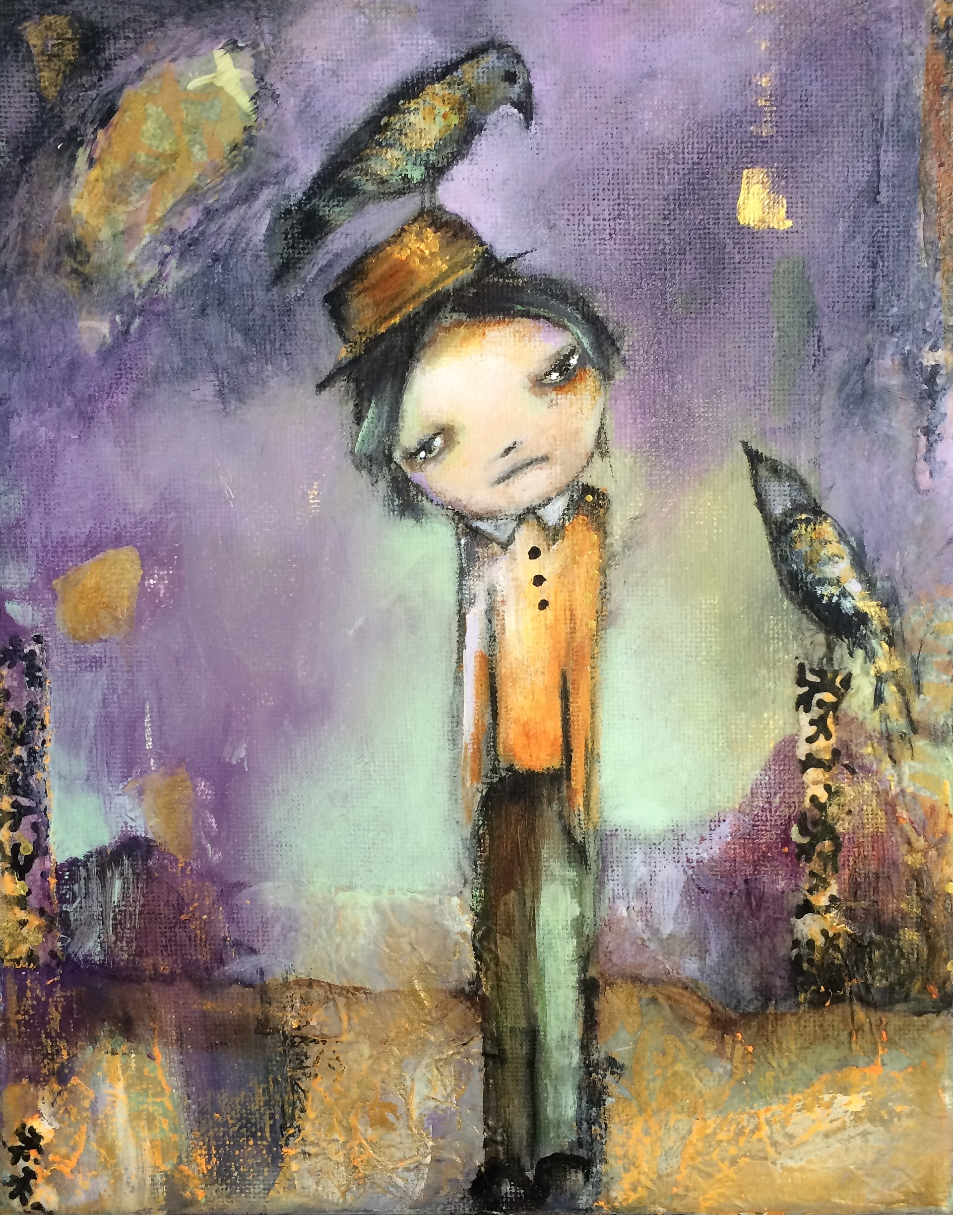 """There's A Bird on Your Head 8""""x 10"""" mixed"""