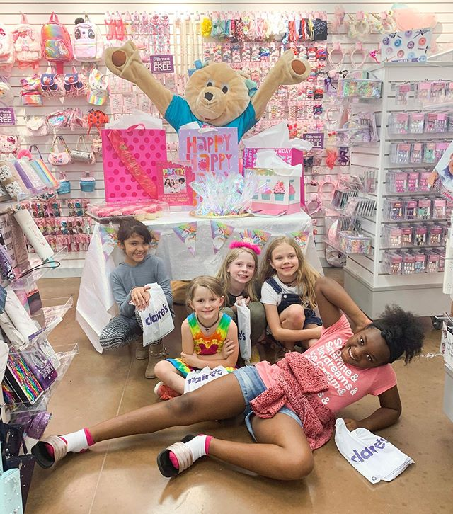 We went to the Claire's in our Walmart and had a birthday shopping spree. Of course, it's every 9 year old's dream... but who knew we'd run into the actual Claire Bear haha!  This Claire's is seriously the nicest!  Highly recommend @clairesmckinney3861!  This is not an ad!  We genuinely just had the best experience!  Check out stories for some behind the scenes scavenger hunt to get here. • • #claires #clairesmckinney